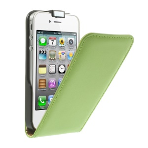 Vertical Flip Genuine Split Leather Magnetic Case for iPhone 4s 4 - Green