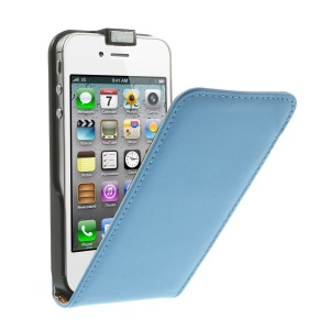 Vertical Flip Genuine Split Leather Magnetic Cover for iPhone 4s 4 - Blue