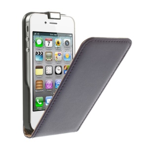Genuine Split Leather Vertical Flip Cover for iPhone 4s 4 - Purple
