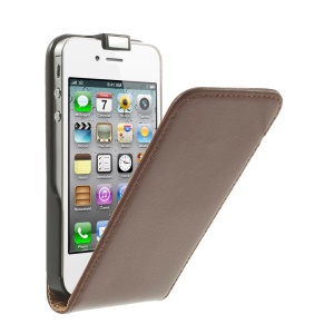 Genuine Split Leather Vertical Flip Case for iPhone 4s 4 - Brown