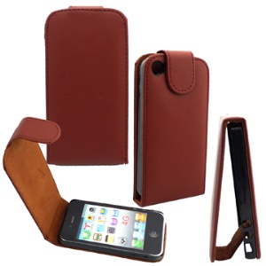 Vertical PU Leather Flip Case for iPhone 4;Red