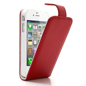 Red Magnetic Vertical Flip Leather Case w/ Card Slot for iPhone 4 4S