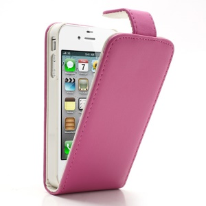 Rose Magnetic Vertical Flip Leather Shell w/ Card Slot for iPhone 4 4S