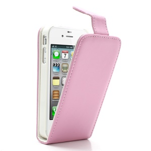 Pink Magnetic Vertical Card Wallet Leather Case for iPhone 4 4S