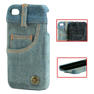 Fashionable Jeans Skin Hard Case with Pocket Design for iPhone 4 4S (All Versions)