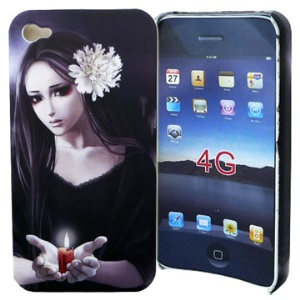 Stylish Japanese Scary Girl Hard Case for iPhone 4