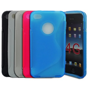 Premium S-Shape TPU Case Cover for iPhone 4;Blue