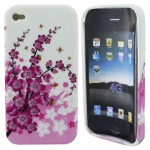 Plum Blossom TPU Gel Case Cover for iPhone 4 4S
