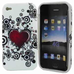Red Heart Dream TPU Gel Case for iPhone 4 4S