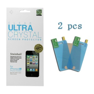 2 PCS Ultra Crystal Clear Screen Protector Shield Film for iPhone 4 4S