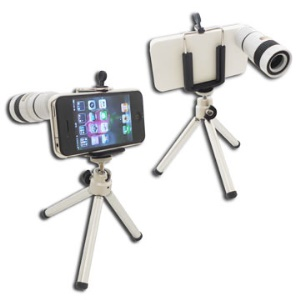 8X F1.1 Optical Zoom lens iPhone 4 4G Telescope Camera with Tripod