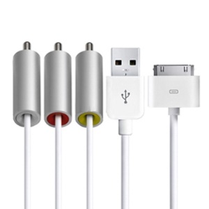 V3.0 Composite AV TV USB Cable for iPhone 4 iPad iPod iTouch, Length 1.5m(5FT)