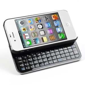 Ultra-thin Slide-out Wireless Bluetooth Keyboard with Hard Case for iPhone 4 4S