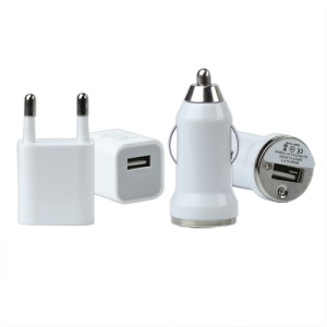 Home Wall + Car Charger + USB Cable for iPhone 4S 4 3GS 3G iPod Series EU Plug