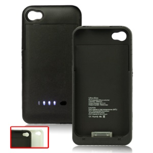 1900mAh Portable Rechargeable External Battery for iPhone 4G w/ 4 LED Lights