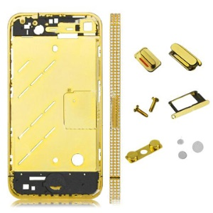 Golden Metal Rhinestone Middle Plate with Small Parts for iPhone 4 4G