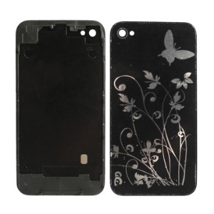 Flower &amp; Butterfly Pattern iPhone 4 4G Back Housing Cover