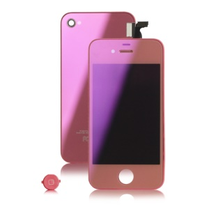 Plated Mirror LCD Screen Digitizer Back Housing Color Conversion Kit for Verizon iPhone 4 - Pink