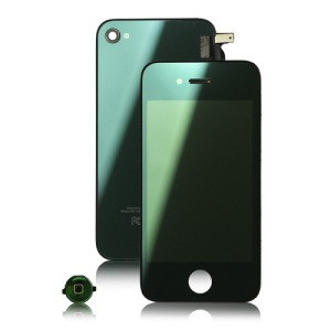 Plated Mirror Verizon iPhone 4 Conversion Kit (LCD Assembly + Back Housing + Home Button) - Green