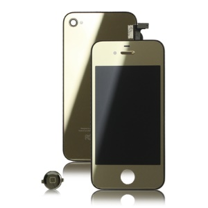 Plated Mirror Verizon iPhone 4 Conversion Kit (LCD Assembly + Housing + Home Button) - Gold