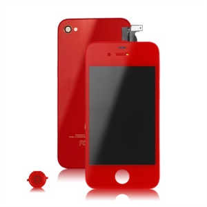 Verizon iPhone 4 Conversion Kit (LCD Assembly + Back Cover + Home Button) - Red