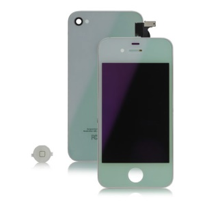 Electroplated Mirror Verizon iPhone 4 CDMA Conversion Kit (LCD Assembly + Back Cover + Home Button) - White