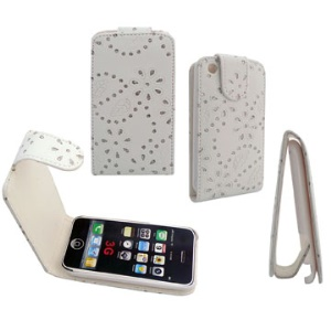 Flashlight Powder Vertical Magnetic Flip Leather Case for iPhone 3GS & 3GS