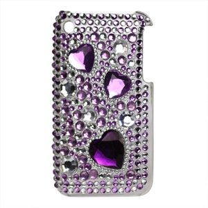 Hearts Bling Diamond Hard Case for iPhone 3G 3GS - Purple