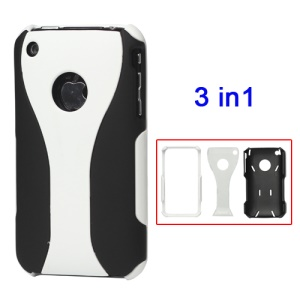 Rubberized 3 Piece Hard Case Cover for iPhone 3GS/3G - Black / White