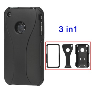 Rubberized 3 Piece Hard Case Cover for iPhone 3GS/3G - Black