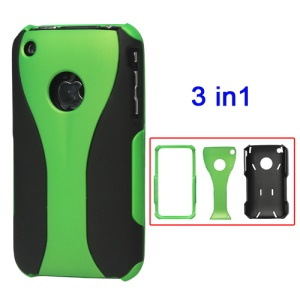 Rubberized 3 Piece Hard Case Cover for iPhone 3GS/3G - Black / Green