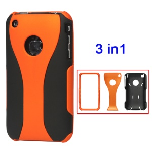 Rubberized 3 Piece Hard Case Cover for iPhone 3GS/3G - Black / Orange
