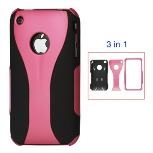 Rubberized 3 Piece Hard Case Cover for iPhone 3GS/3G - Black / pink