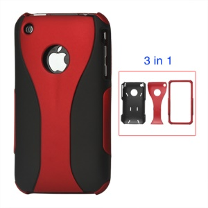 Rubberized 3 Piece Hard Case Cover for iPhone 3GS/3G - Black / Red
