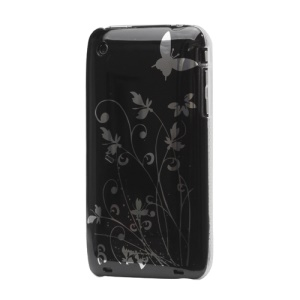 Floral Butterfly Hard Case for iPhone 3G 3GS - Black