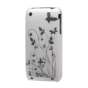 Floral Butterfly Hard Case for iPhone 3G 3GS - White