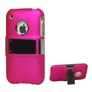 Snap-on Electroplating Hard Plastic Case with Stand for iPhone 3G/3GS - Rose