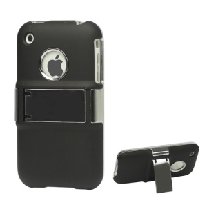 Snap-on Electroplating Hard Plastic Case with Stand for iPhone 3G/3GS - Black