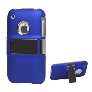 Snap-on Electroplating Hard Plastic Case with Stand for iPhone 3G/3GS - Blue