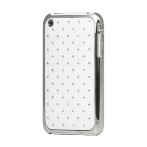 Sparkling Rhinestone Plating Checkered Rubber Hard Case for iPhone 3GS/3G - White