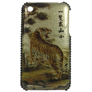 King Tiger Pattern with Diamond Sides for iPhone 3GS/3G