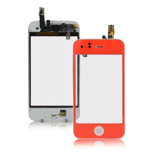 iPhone 3GS Touch Screen Digitizer with Home Button Bezel Earpiece ect - Red Orange