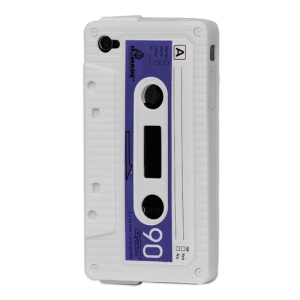 Cassette Tape Silicone Case for iPhone 4 4S - White