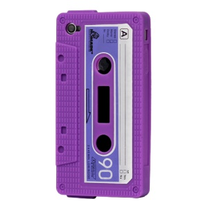 Cassette Tape Silicone Case for iPhone 4 4S - Purple