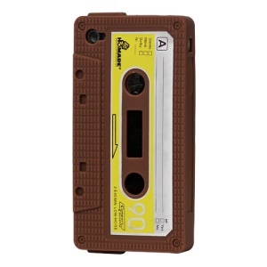 Cassette Tape Silicone Case for iPhone 4 4S - Brown