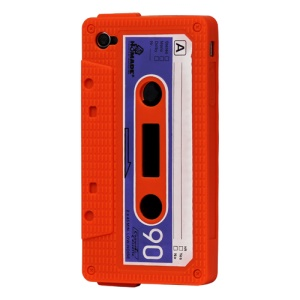Cassette Tape Silicone Case for iPhone 4 4S - Orange