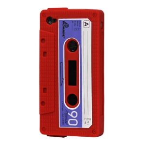 Cassette Tape Silicone Case for iPhone 4 4S - Red