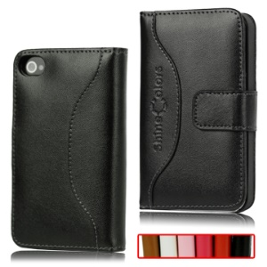 Soft Wallet Style Genuine Leather Case with Magnetic Flip for iPhone 4