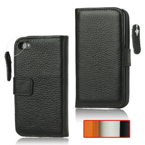 Wallet Style Genuine Leather Case with Magnetic Flip for iPhone 4