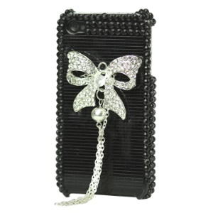 Bling Bowknot Swarovski Rhinestone Case for iPhone 4 4S (All Versions) - Black